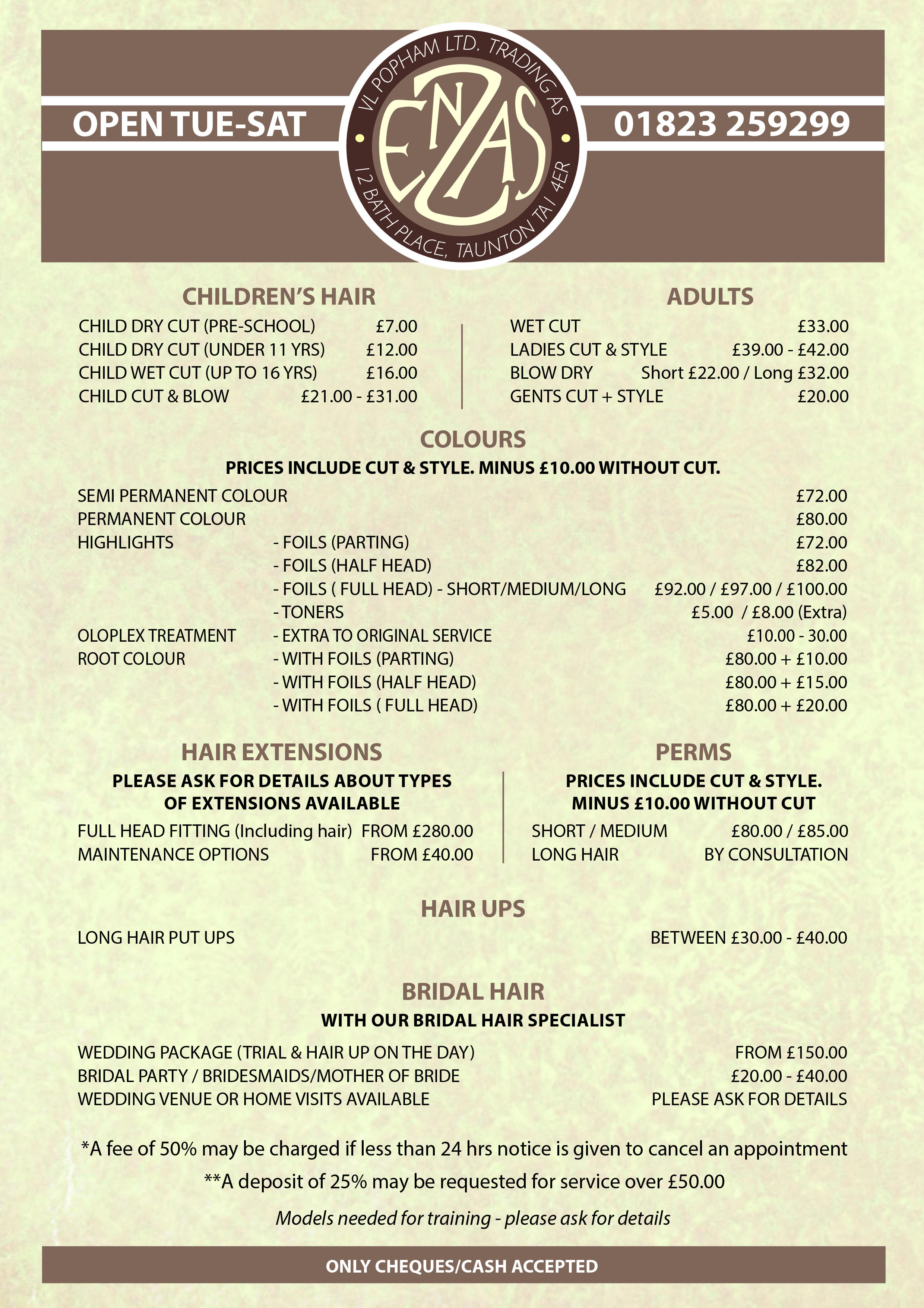 Salon Price List Enzas Hair Taunton